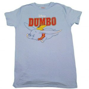 DISNEY RETO CLASSIC DUMBO T-SHIRT PASTEL BLUE MENS DISNEYLAND TEE TOP NEW