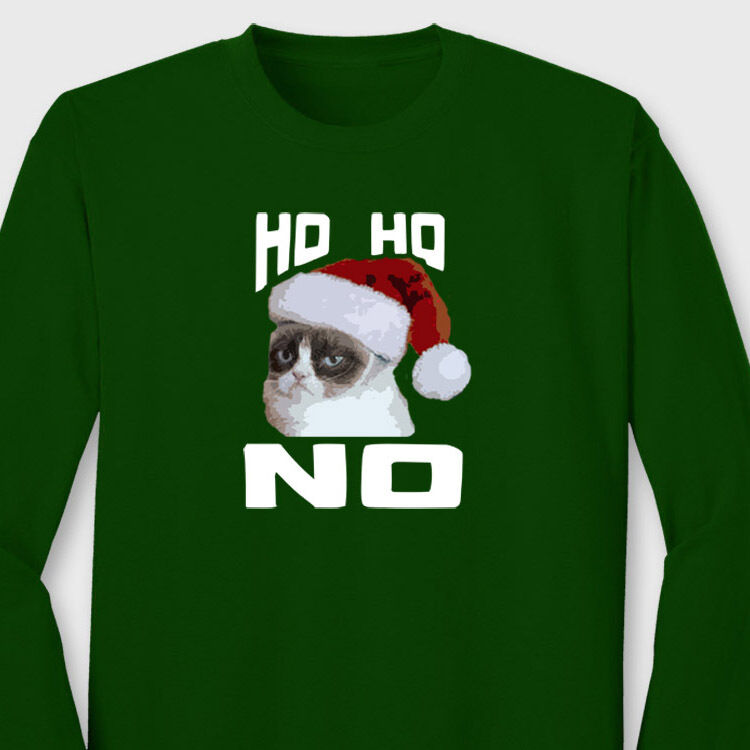 Grumpy Cat Ho Ho NO Green Mens T-Shirt