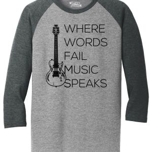 Mens Where Words Fail Music Speaks 3/4 Triblend Guitar Band Country Song