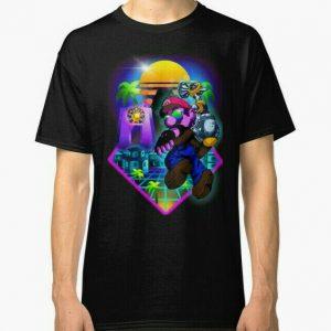 New Retrowave Super Mario Sunshine Men's T-Shirt Size S-2XL (USA Size)