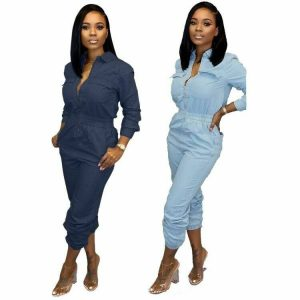Women's Denim Jumpsuit Full Zip Elastic Waist Pockets Denim Shirt Casual Outfits