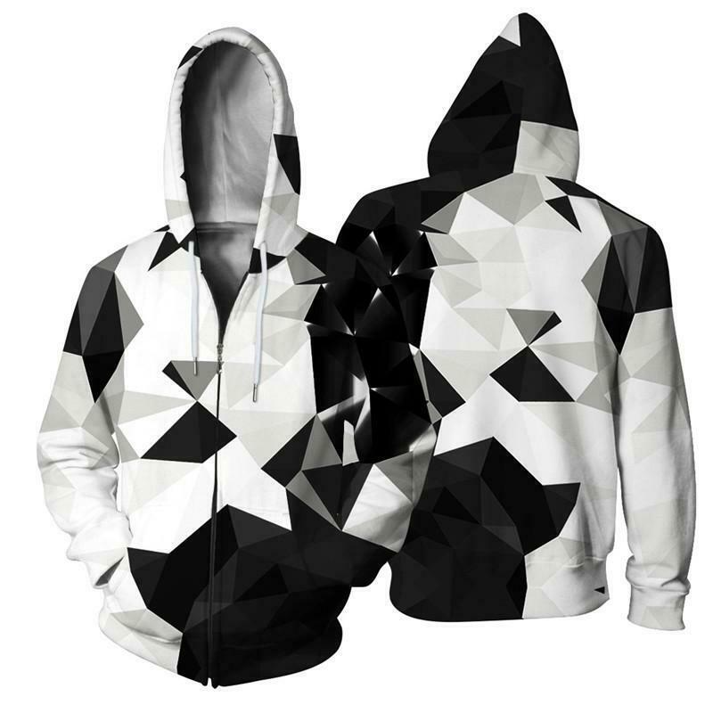 Wolf Lion Animal 3D Print Women Men Winter Zip Up Hoodie Sweatshirt Jacket Coats
