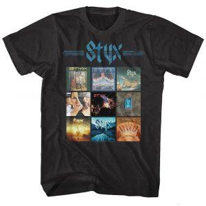 OFFICIAL Styx Album Covers Men's T-Shirt Rock Band Tour Merch Music Black