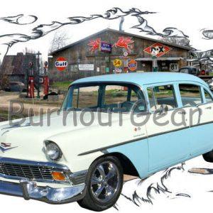 1956 Blue Chevy 4 door Sedan c Custom Hot Rod Garage T-Shirt 56 Muscle Car Tee's