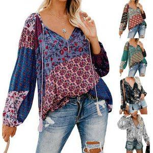 Boho V-Neck Women Floral Long Sleeve Lantern S-2XL Blouse Oversize Tops T Shirt