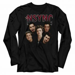 NSYNC Group Shot Black Adult Long Sleeve T-Shirt