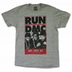 Run DMC Vintage Tour Promo Pic Heather Grey T Shirt New Official Soft