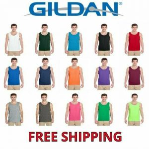 Gildan Men's Heavy 100% Cotton Tank Top Plain Tee Muscle Gym Sleeveless 5200