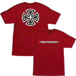 Independent Skateboard Shirt Bar Cross Cardinal