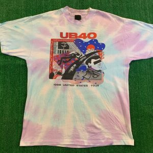 Rare Vintage 80's UB40 Band US Tour Shirt Size XL 88' Tie Dye Single Stitch Art