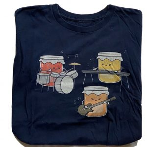 JAM BAND T-SHIRT - Hilarious Condiments Rock Band Jamming Out GET IT?! Navy Blue