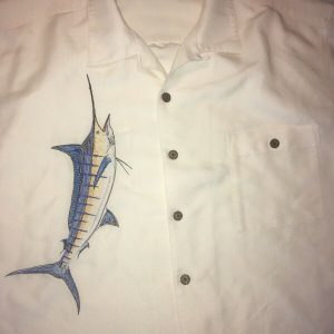 Hook & Tackle Limited Edition Embroidered Blue Marlin Camp Shirt XL