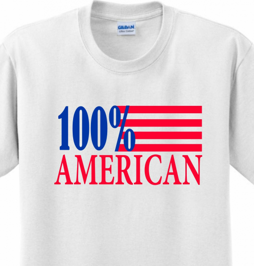 100% American 4th of July Flag Patriotic Celebration America T-shirt Any Size