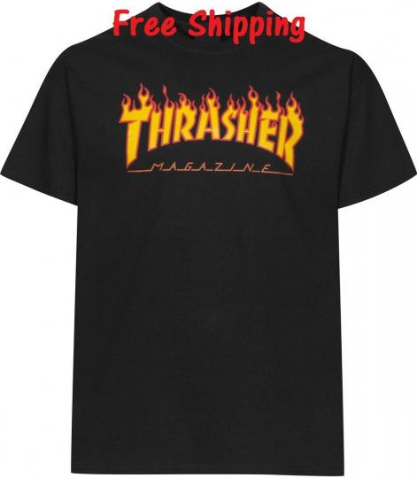 Thrasher Magazine T-Shirt Skateboard Men Skateboarding Skate Board Sk8 Logo Mag