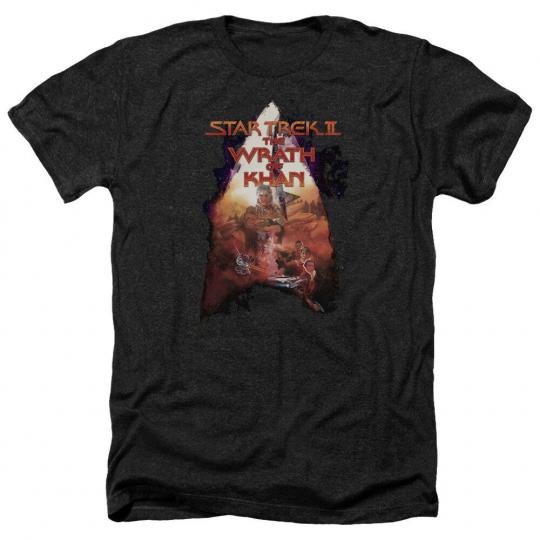 Star Trek II Wrath of Khan Movie Poster Licensed Adult Heather T-Shirt All Sizes
