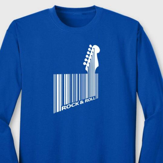 Bar Code Guitar Bass Funny Rock T-shirt Guitarist Music Humor Long Sleeve Tee