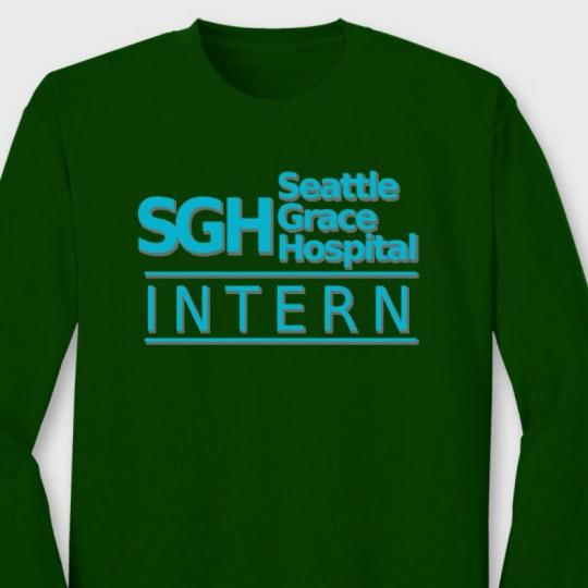 SGH INTERN Greys Anatomy TV Show T-shirt Seattle Grace Hospital Long Sleeve Tee