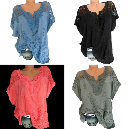 Women Summer Casual Short Sleeve T Shirt V-Neck Tops Floral Lace Blouse