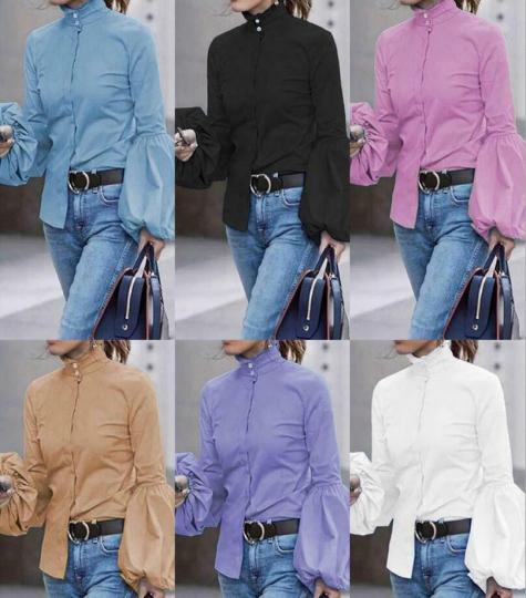 1866 Woman Buttons-up Neck long sleeve Slim TOP lantern sleeve Shirt Blouse S-L