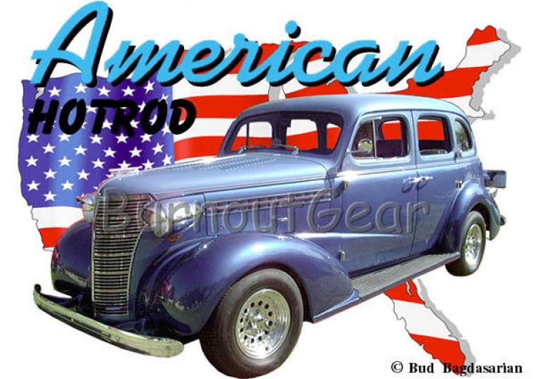 1938 Blue Chevy 4 door Sedan a Custom Hot Rod USA T-Shirt 38 Muscle Car Tees