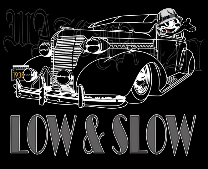 1938 Chevrolet With Felix The Cat 2 Door Sedan Lowrider Men's T-Shirts