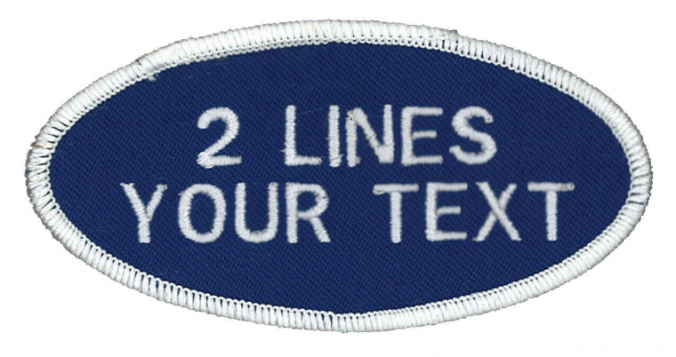 2 Line OVAL Work Shirt Patches, Personalized & Embroidered Identification Tags