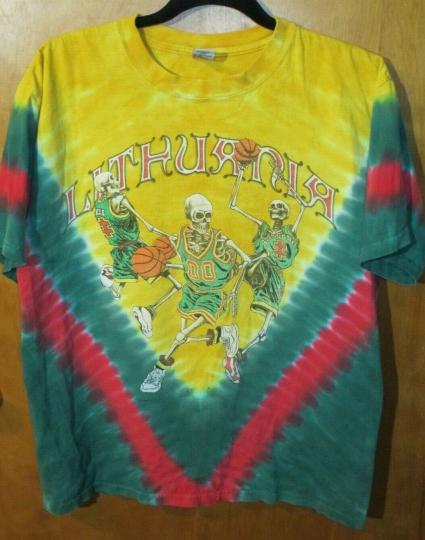 2004 Lithuania Grateful Dead Basketball Men's Tye Dye Shirt M ATHENS