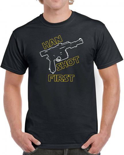 380 Han Shot First mens T-shirt star geek nerd jedi 80s wars skywalker chewie