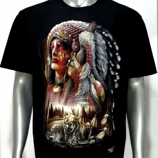 3D T-shirt STUD Rivet Glow in Dark d40 Tattoo Rock Chang Indian Tribe Cotton Tee