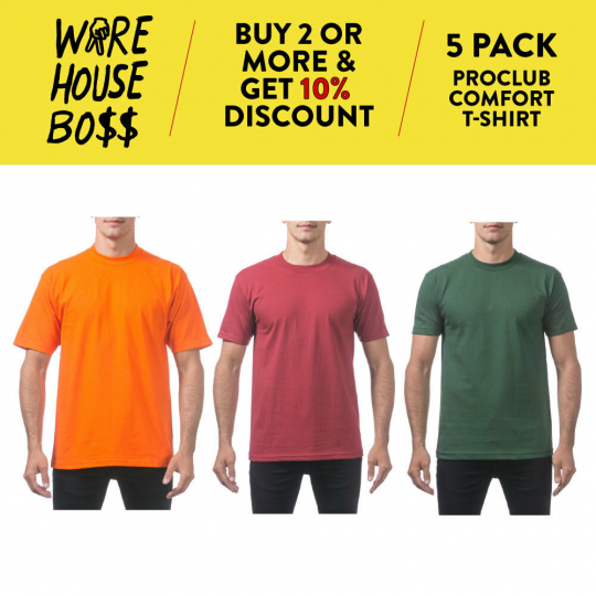 5 PACK PROCLUB PRO CLUB PLAIN MENS SHORT SLEEVE T SHIRT COMFORT COTTON SHIRTS