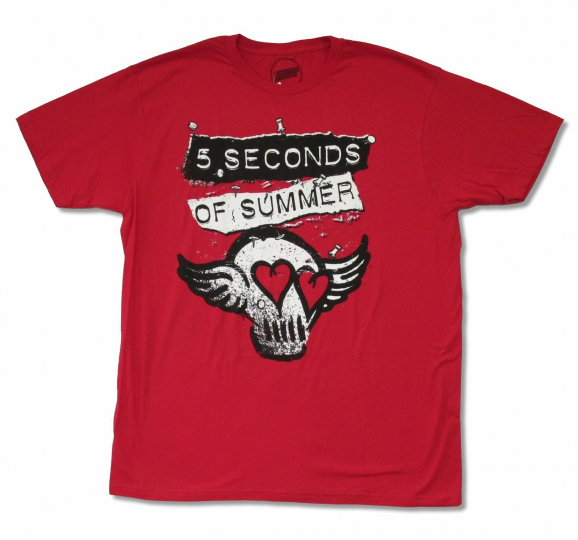 5 Seconds Of Summer Skull Wings Red T Shirt New Official Adult Band Music