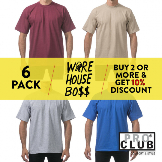6 PACK PRO CLUB PROCLUB MENS T SHIRTS SHORT SLEEVE SHIRTS HEAVY-WEIGHT PLAIN TEE