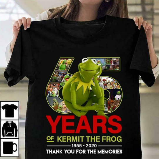 65 Years Of Kermit The Frog Thank You For The Memories Black T-Shirt Men S-6XL
