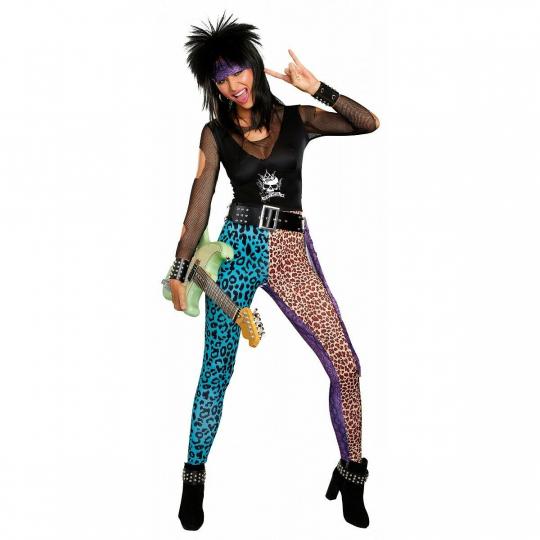 80s Rock Star Costume Adult Glam Hair Band Halloween Fancy Dress