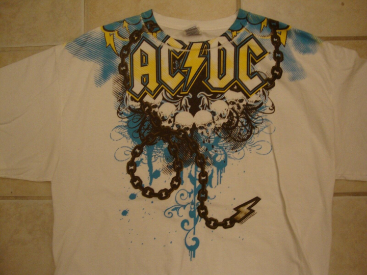 ACDC AC/DC Metal Rock Music Band Skull Chain White T Shirt XL