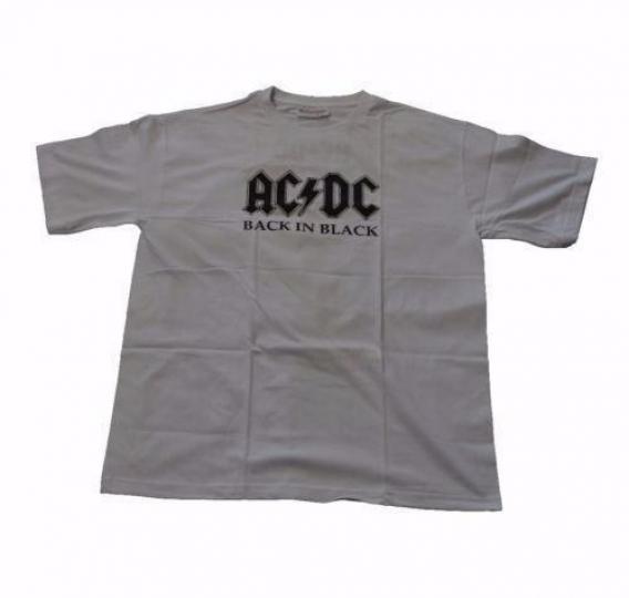 AC/DC Back In Black T-shirt GRAY AC DC Classic Hard Rock Band Adult