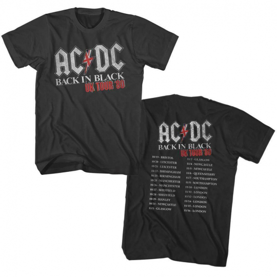 AC/DC Back In Black UK Tour Adult T-Shirt