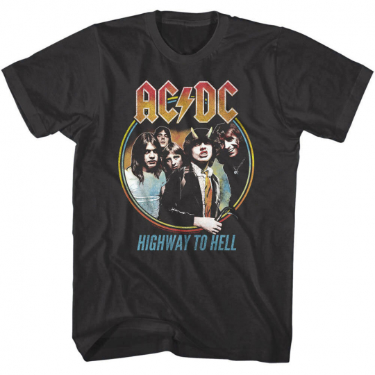 ACDC Highway to Hell Album Cover Art Men's T Shirt Vintage Rock Band Tour Merch