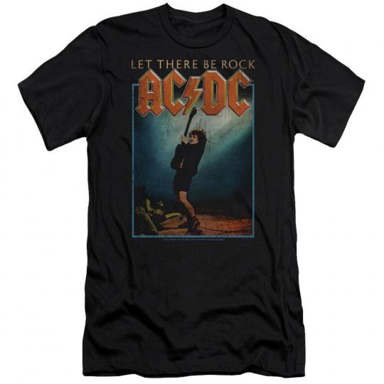 AC/DC Let There Be Rock Premium Canvas Adult Slim Fit T-Shirt Black