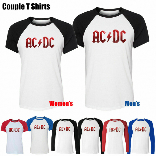 ACDC Malcolm Angus Rock Band Couples Print T-Shirts Womens Mens Graphic Tee Tops