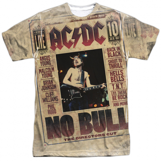 ACDC NO BULL Licensed Front Print Men's Graphic Band Tee Shirt SM-3XL