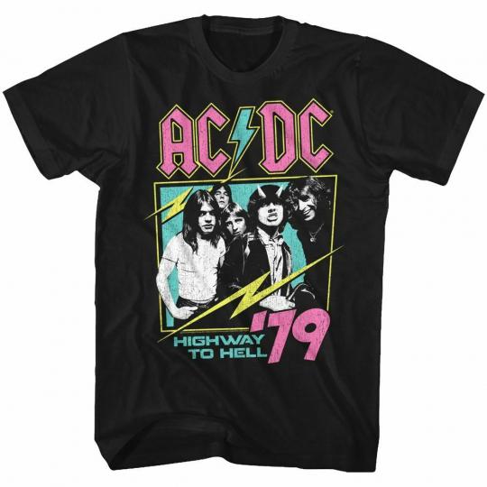 AC/DC Neon Highway Black Adult T-Shirt