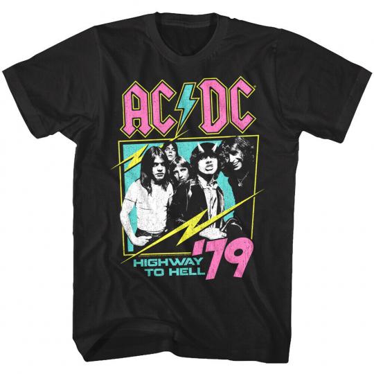 ACDC Neon Highway to Hell 1979 Men's T Shirt Metal Rock Band Album Concert Merch