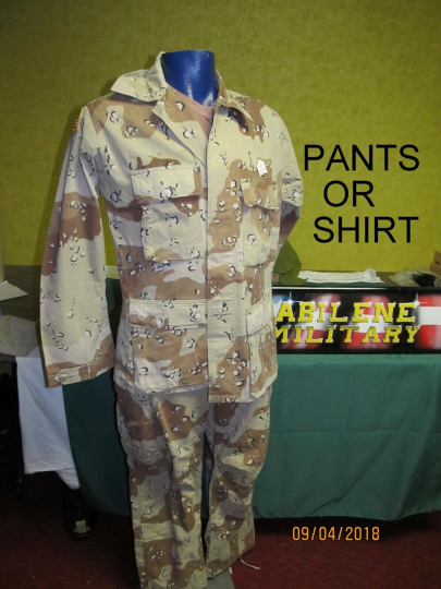 ARMY 6 COLOR DESERT CHOCOLATE CHIP UNIFORM PANTS OR SHIRT DESERT STORM JACKET