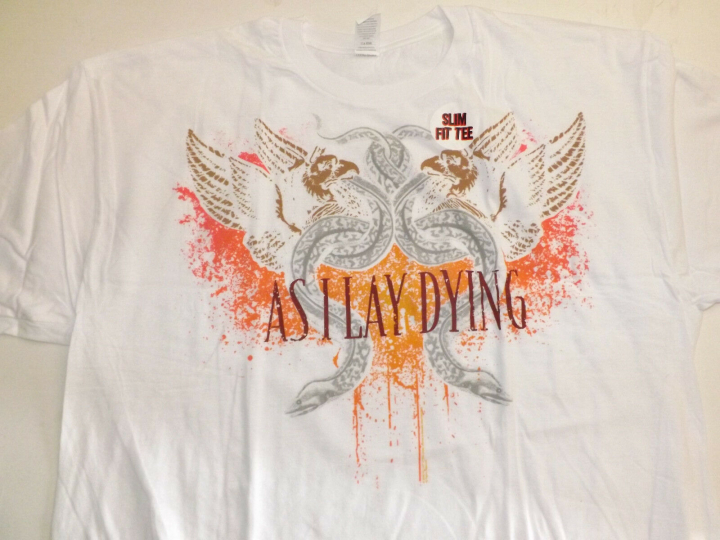 AS I LAY DYING Snakes  White T-Shirt **NEW music band concert tour