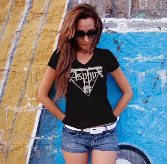 ASPHYX Logo Women T-shirt V-neck Death Metal Tee Shirt ENTOMBED DISMEMBER