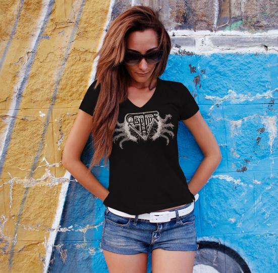 ASPHYX Logo Women T-shirt V-neck Death Metal Tee Shirt GORGUTS BOLT THROWER