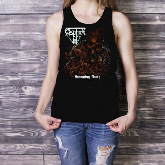 ASPHYX Women Lady Black Tank Top Death Metal Singlet Angel Incoming Death