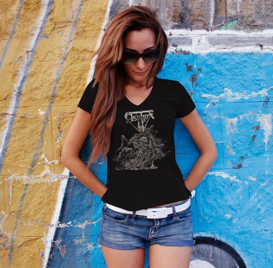 ASPHYX Women T-shirt V-neck Death Metal Tee Shirt Reign of the Brute