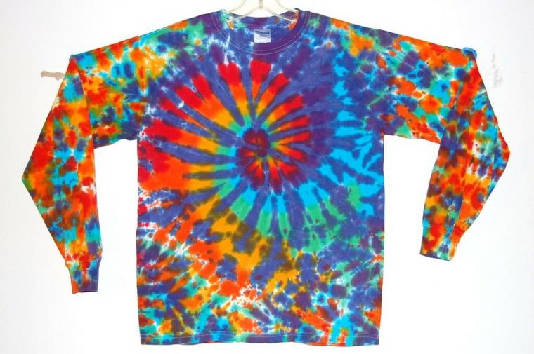 Adult L/S TIE DYE Rainbow Blotter TShirt art small medium large XL grateful dead